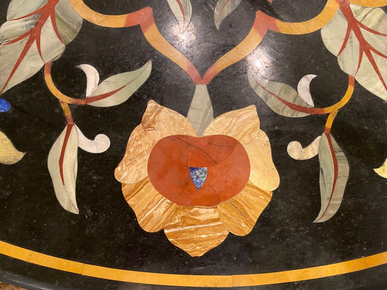 Pietra Dura Marble-Top Dining or Center Table, Arts & Crafts Movement For Sale 4