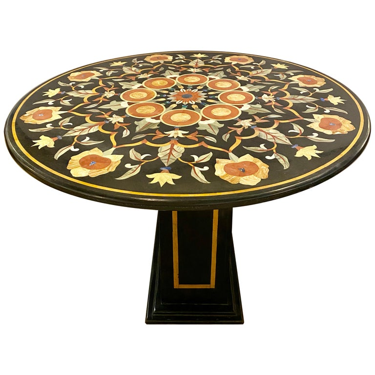 Pietra Dura Marble-Top Dining or Center Table, Arts & Crafts Movement For Sale