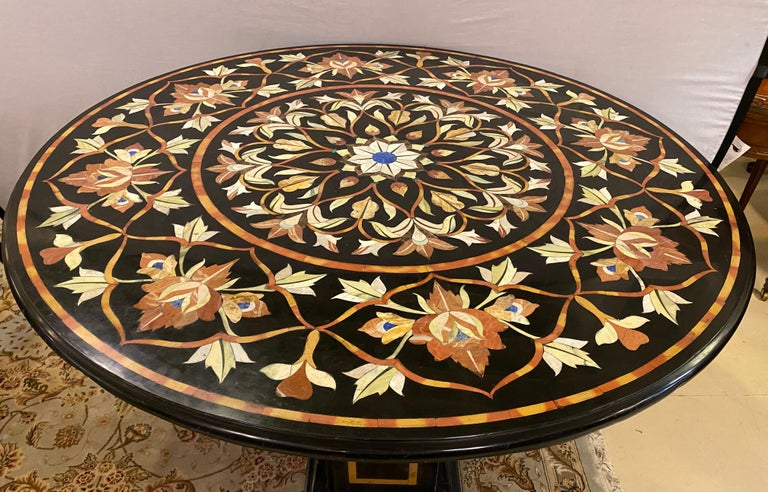 Art Deco Pietra Dura Marble Top Dining or Center Table with Pedestal For Sale