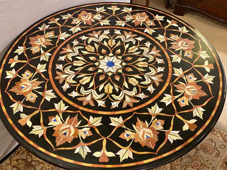 Pietra Dura Marble Top Dining or Center Table with Pedestal In Good Condition For Sale In Stamford, CT