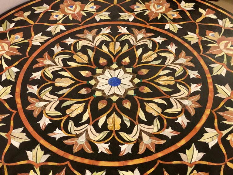 Mid-20th Century Pietra Dura Marble Top Dining or Center Table with Pedestal For Sale