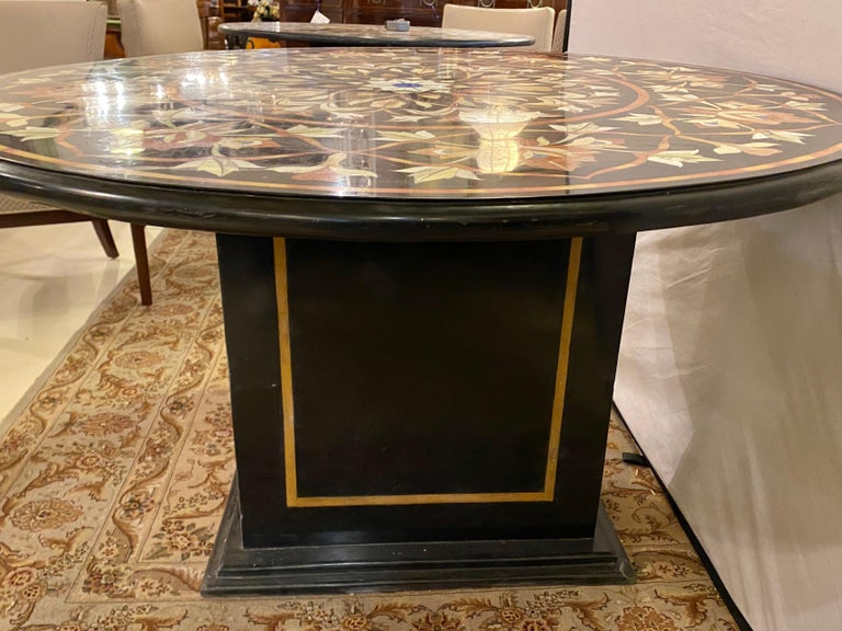 Pietra Dura Marble Top Dining or Center Table with Pedestal For Sale 1