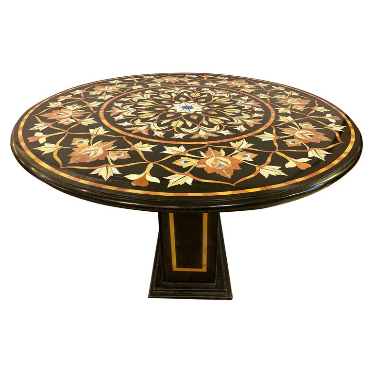 Pietra Dura Marble Top Dining or Center Table with Pedestal For Sale
