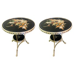 Pietra Dura Marble-Top Silver Metal Based End, Bouilliotte, Gueridon Table Pair