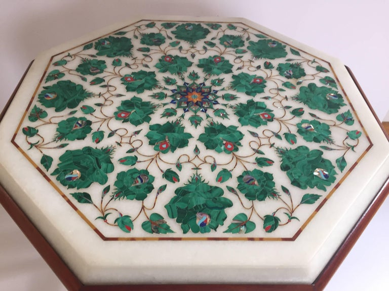 Pietra Dura Marble Topped Octagonal Table Inlaid In Taj