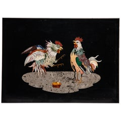 Pietra Dura Roosters 'Cock Fight!'
