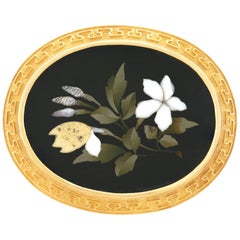 Pietra Dura Set 18 Karat Gold Brooch
