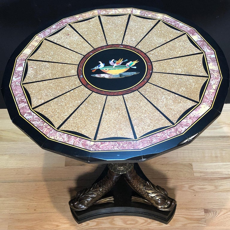 Regency Pietra Dura Specimen Marble and Figural Bronze Center Table For Sale