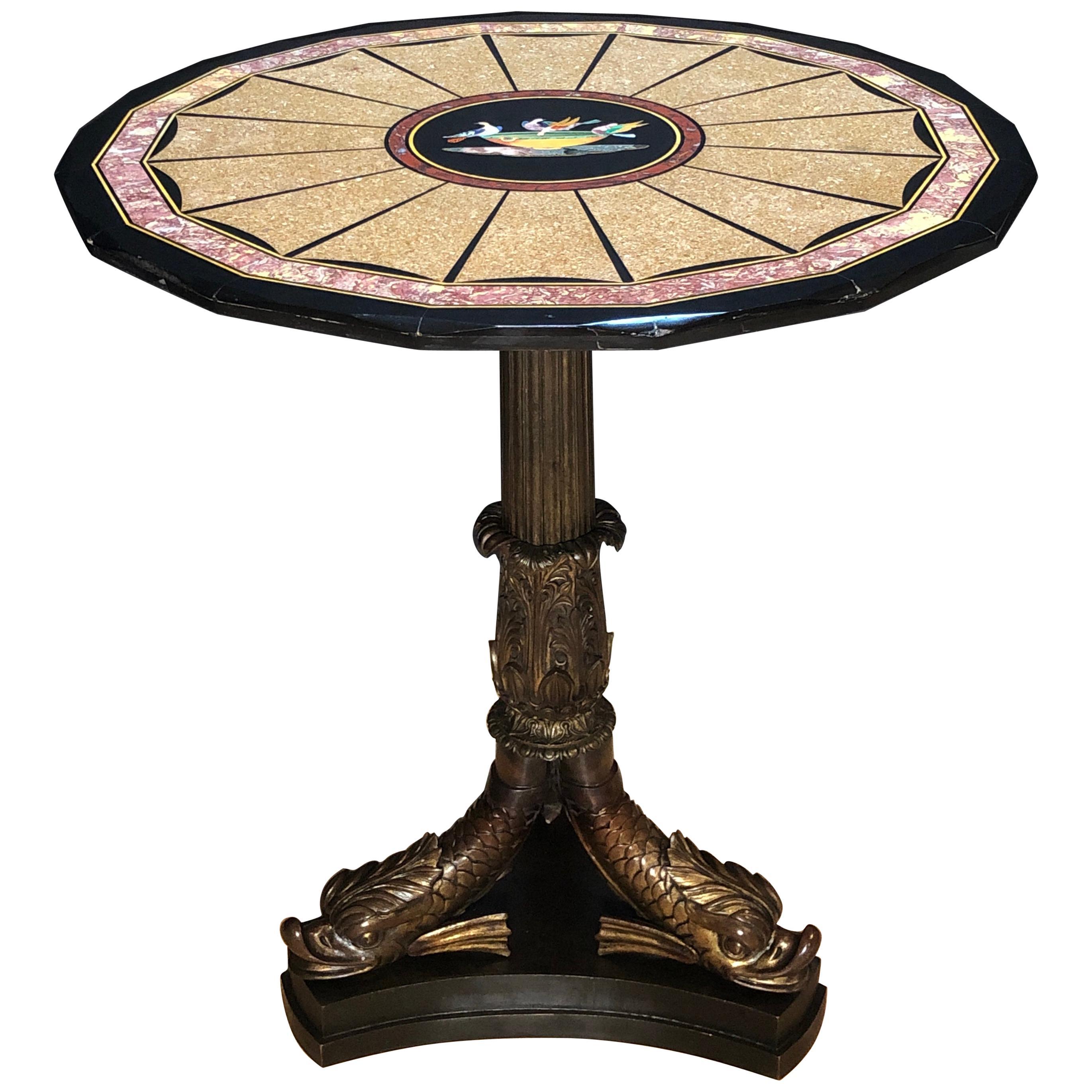 Pietra Dura Specimen Marble and Figural Bronze Center Table