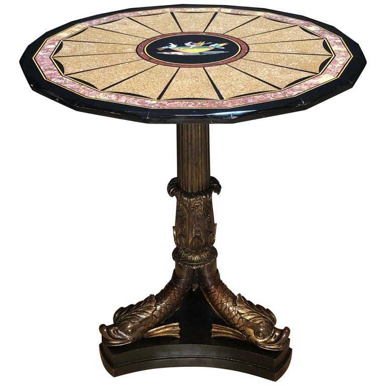 Pietra Dura Specimen Marble and Figural Bronze Center Table For Sale