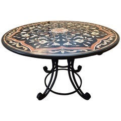 Pietra Dura Stone Inlaid Round Center Dining Table, Wrought Iron Base Antique