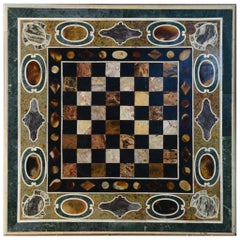 Pietra Dura Tabletop with Chess Board, Marble and Hardstones, Late 20th Century