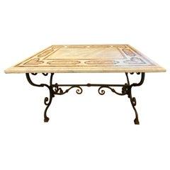 Pietra Dura Top Wrought Iron Table