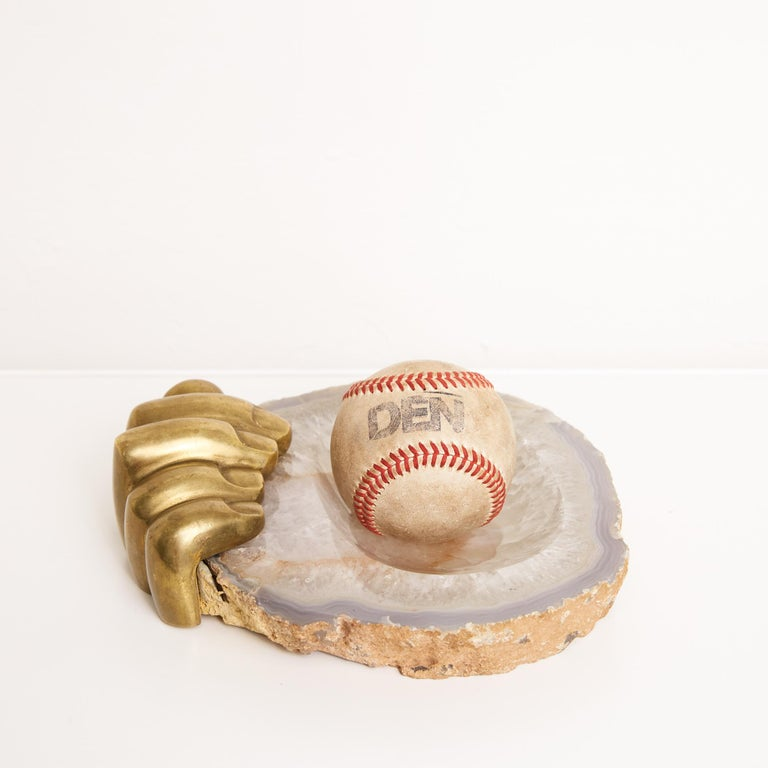 Modern Pietrina Checcacci Agate Tray with Cast Bronze Hand For Sale