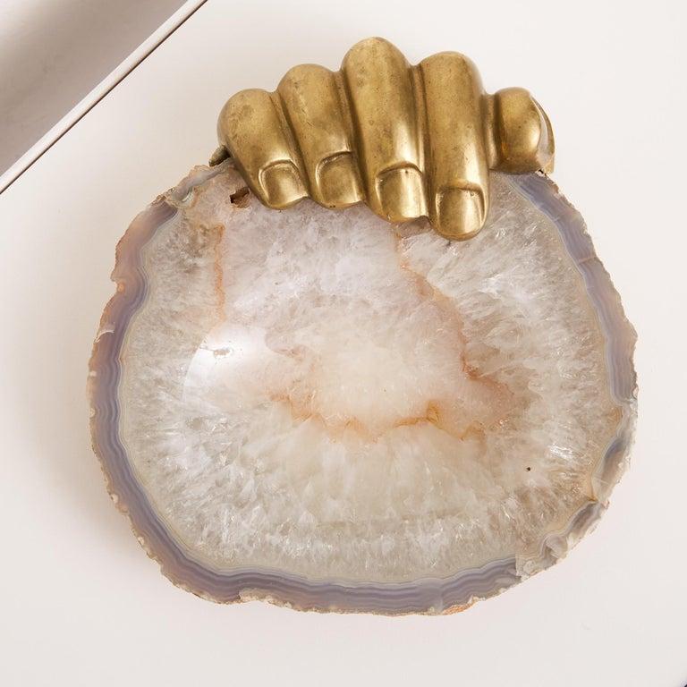 Brazilian Pietrina Checcacci Agate Tray with Cast Bronze Hand For Sale