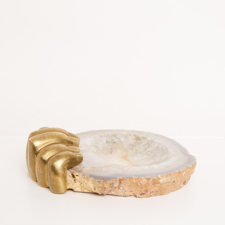 Pietrina Checcacci Agate Tray with Cast Bronze Hand For Sale 1
