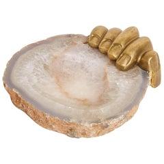 Pietrina Checcacci Agate Tray with Cast Bronze Hand