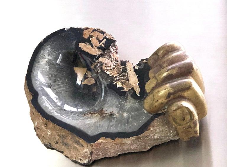 Late 20th Century Pietrina Checcacci Bronze and Agate Sculpture Hand Tray, 1970s For Sale