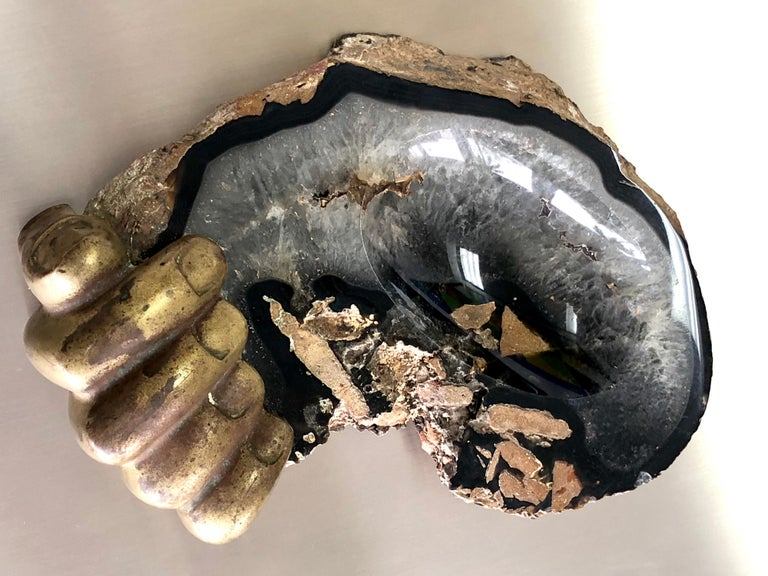 Pietrina Checcacci Bronze and Agate Sculpture Hand Tray, 1970s For Sale 1