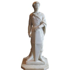 Romanesque Naturalistic Marble Soldier Sculpture