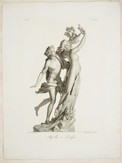 Apollo and Dafne - Original Etching by Pietro Bettelini After Agostino Tofanelli