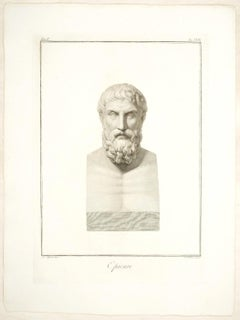 Epicurus - Original Etching by Pietro Bettelini After Agostino Tofanelli