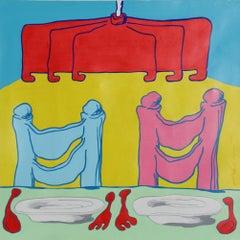 La Tavola, Pop Surrealist Painting by Pietro Bulloni