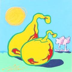 Liamo Alla Frutta, Pop Surrealist Painting by Pietro Bulloni