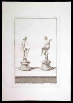 Ancient Roman Statue of Nudes- Original Etching by Pietro Campana - 18th Century