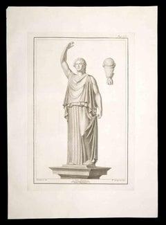 Ancient Roman Statue - Original Etching by Pietro Campana - 18th Century