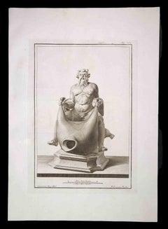 Dionysus, Ancient Roman Statue - Original Etching - 18th century