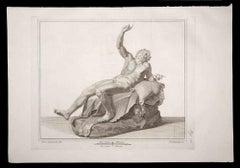 Dionysus, Ancient Roman Statue - Original Etching by P. Campana - 18th century