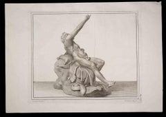 Hercules, Ancient Roman Statue - Original Etching by P. Campana - 18th century