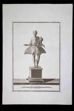 Offering, Ancient Roman Statue - Original Etching - 18th century