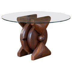 Pietro Cascella Sculptural Wood Side Table, Round Glass Top, Italy circa 1970
