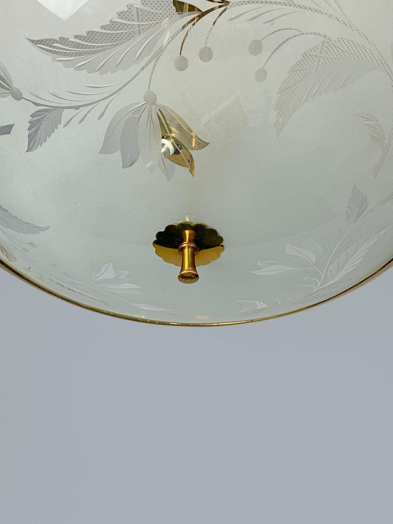 Italian Pietro Chiesa Brass & Carved Satin Glass Chandelier, 1950s, Italy For Sale