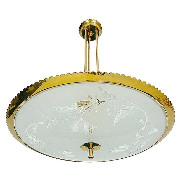 Pietro Chiesa Brass & Carved Satin Glass Chandelier, 1950s, Italy For Sale