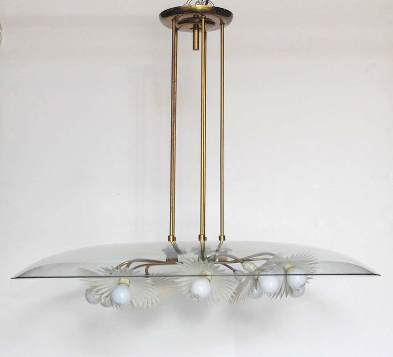 Important Italian chandelier with beveled glass, brass, and painted aluminum. Designed by Pietro Chiesa, manufactured by Fontana Arte, circa 1948, made in Italy Currently all parts are in original condition including the light sockets which are not