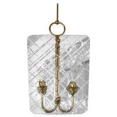 Attributed Pietro Chiesa Brass & Harlequin Pattern Cut Glass Chandelier