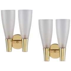 Pietro Chiesa for Fontana Arte Brass Sconces with Two Glass Shades, Italy 1940s