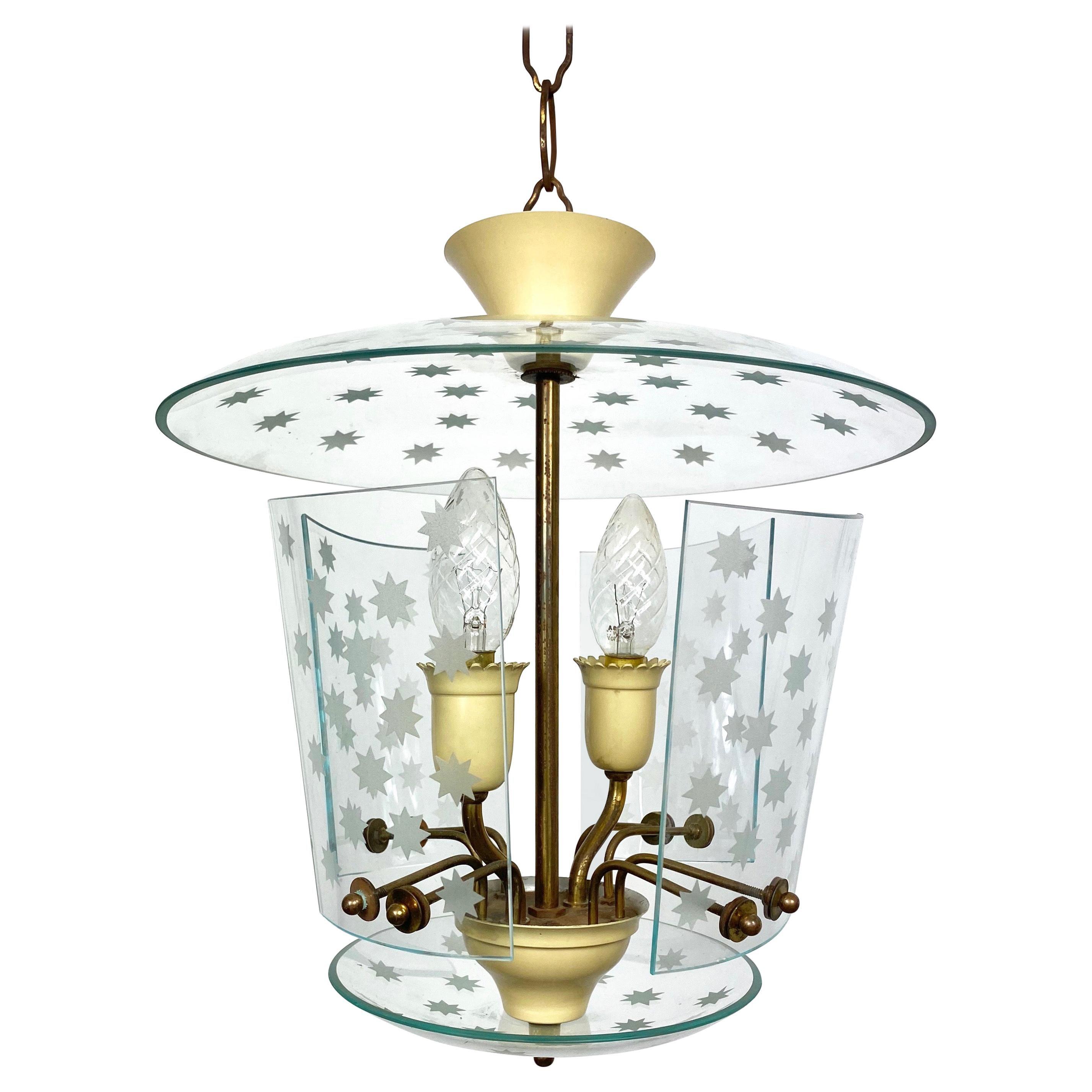 Pietro Chiesa for Fontana Arte Glass and Brass Chandelier Lantern, Italy, 1950s