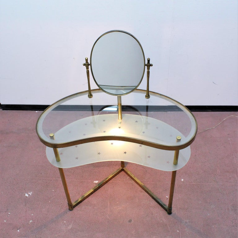 Luigi Brusotti Old Glass and Brass Vanity Console, 1940s, Italy For Sale 6