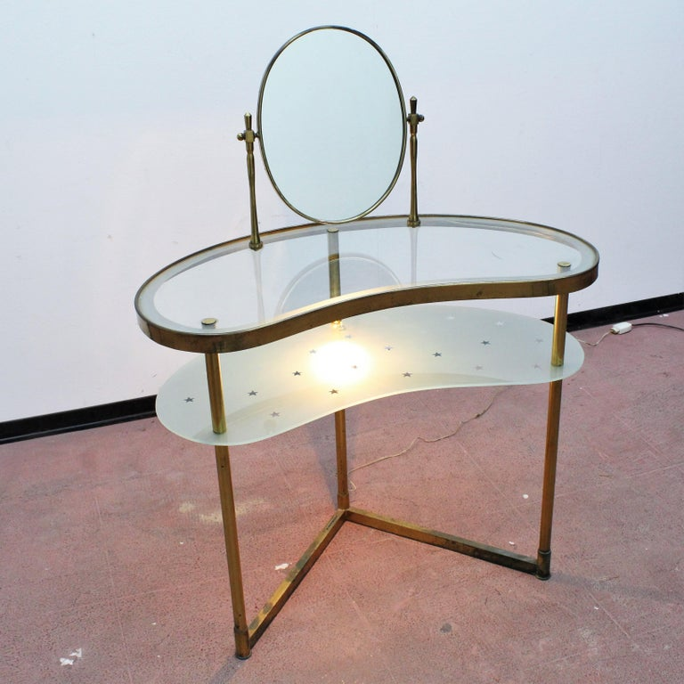 Luigi Brusotti Old Glass and Brass Vanity Console, 1940s, Italy For Sale 7