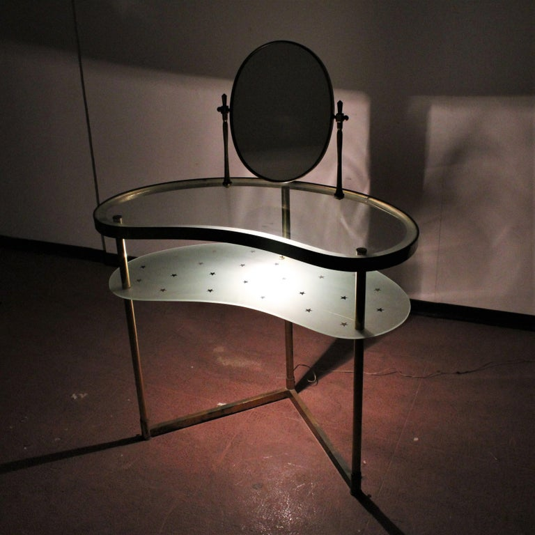 Luigi Brusotti Old Glass and Brass Vanity Console, 1940s, Italy For Sale 9