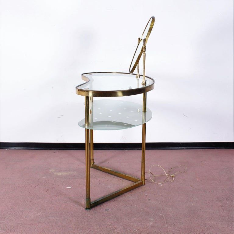 Luigi Brusotti Old Glass and Brass Vanity Console, 1940s, Italy For Sale 10