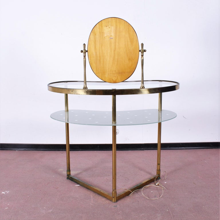 Luigi Brusotti Old Glass and Brass Vanity Console, 1940s, Italy For Sale 11