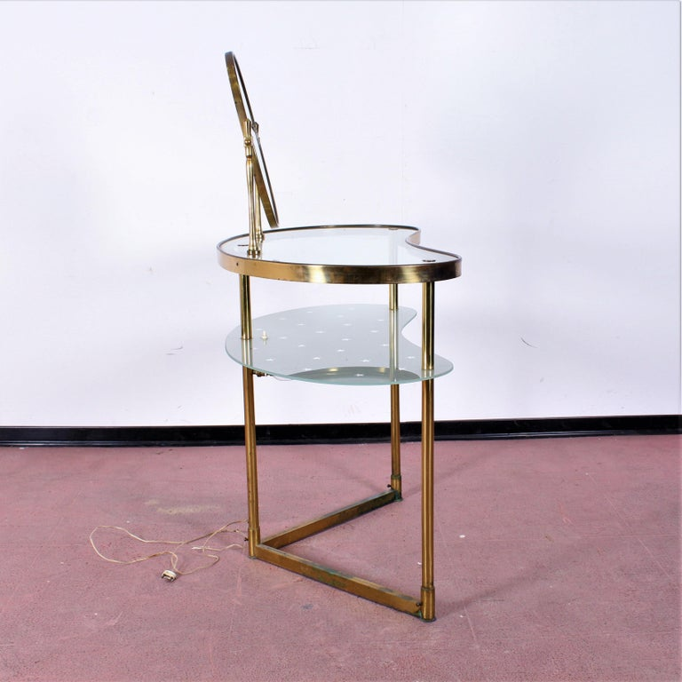Luigi Brusotti Old Glass and Brass Vanity Console, 1940s, Italy For Sale 12