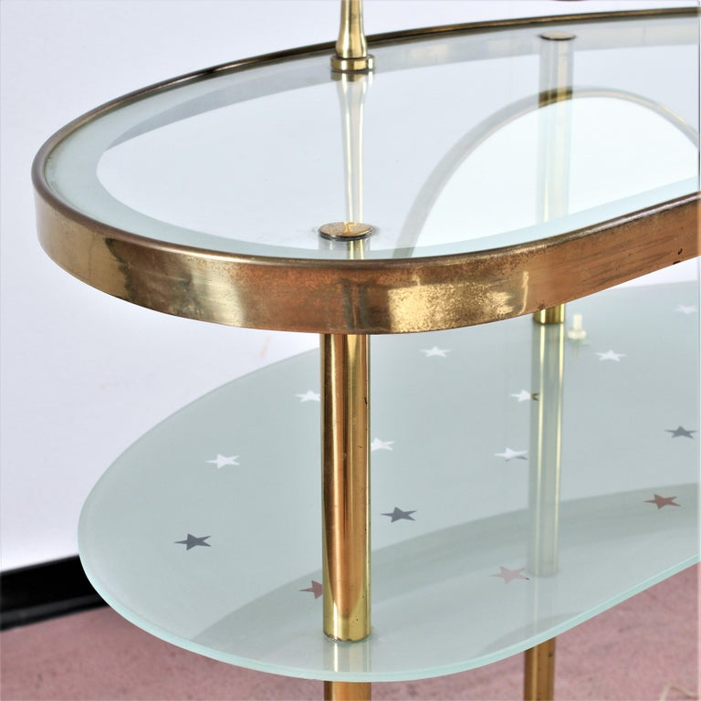 Mid-Century Modern Luigi Brusotti Old Glass and Brass Vanity Console, 1940s, Italy For Sale