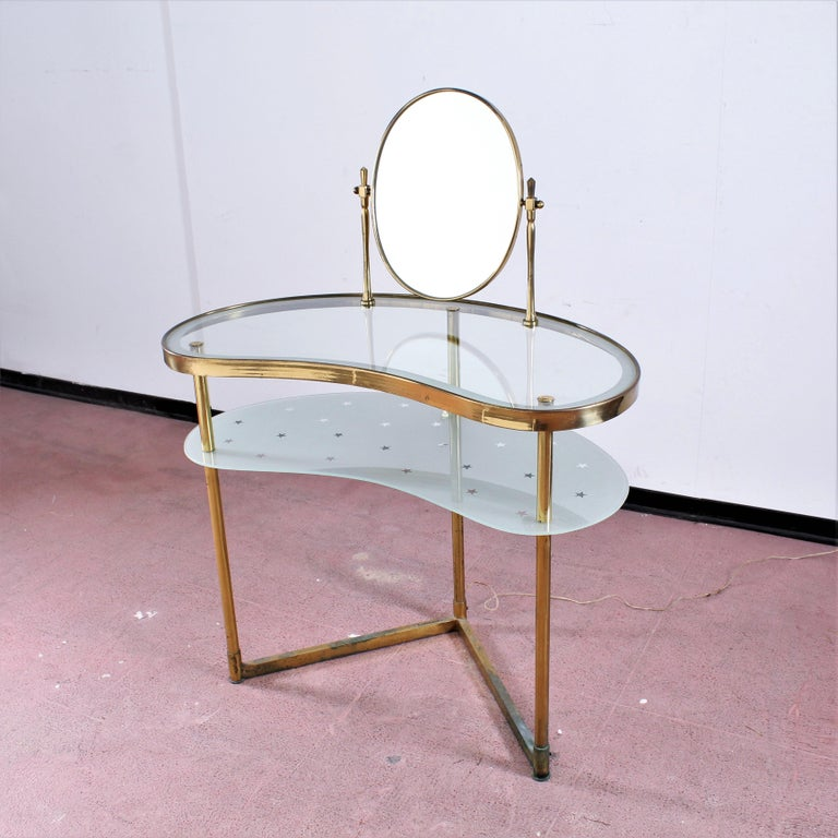 Luigi Brusotti Old Glass and Brass Vanity Console, 1940s, Italy In Good Condition For Sale In Palermo, IT