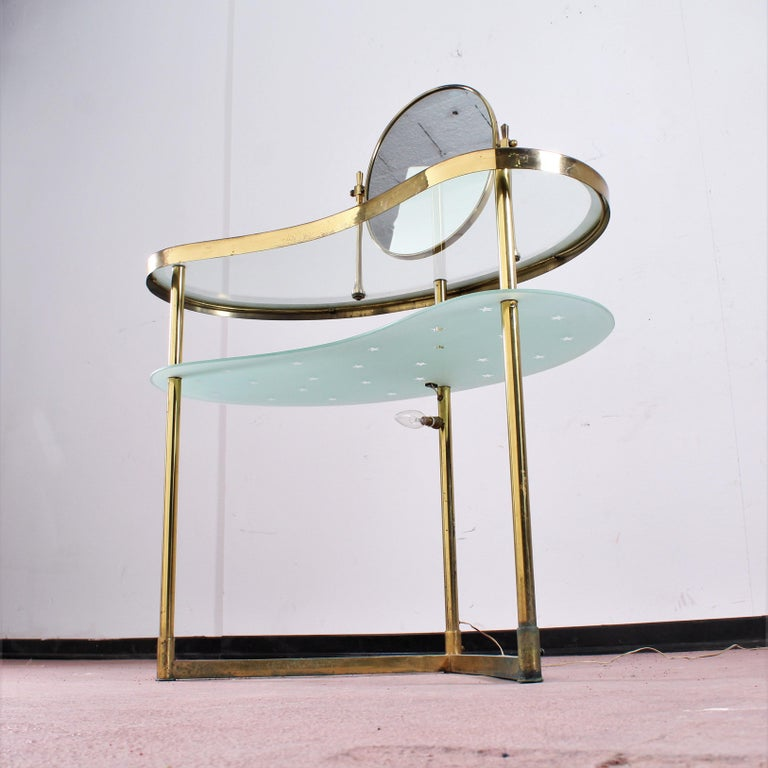 Luigi Brusotti Old Glass and Brass Vanity Console, 1940s, Italy For Sale 3